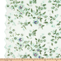 Floral  Mesh Embroidery Mint