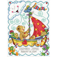 "Tobin Counted Cross Stitch Kit 11""X14""-Sail Away Baby Birth Record (14 Count)"