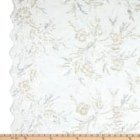 Fancy Beaded Floral Tulle Embroidery White