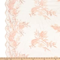 Fancy Beaded Floral Tulle Embroidery Pink