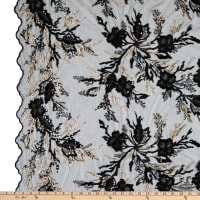 Fancy Beaded Floral Tulle Embroidery Black/Gold