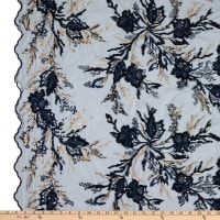 Fancy Beaded Floral Tulle Embroidery Navy/Gold