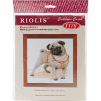"""RIOLIS Counted Cross Stitch Kit 9.75""""X9.75""""-Pug Dog (14 Count)"""