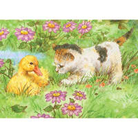 """Mini Color Pencil By Number Kit 5""""X7""""-Kitten & Duckling"""