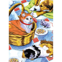 "Mini Color Pencil By Number Kit 5""X7""-Family Pets"