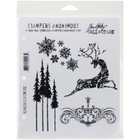 "Tim Holtz Cling Stamps 7""X8.5""-Reindeer Flight"