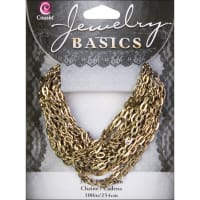 """Jewelry Basics Metal Chain 1/Pkg-Antique Gold Small Oval 100"""""""