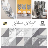 "DCWV Double-Sided Cardstock Stack 12""X12"" 36/Pkg-Silver Leaf, 18 Designs/2 Each"