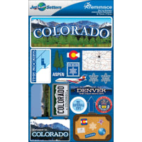 "Reminisce Jet Setters State Dimensional Stickers 4.5""X7.5""-Colorado"