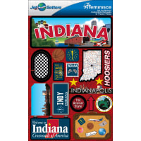 """Reminisce Jet Setters State Dimensional Stickers 4.5""""X7.5""""-Indiana"""