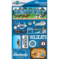 "Reminisce Jet Setters State Dimensional Stickers 4.5""X7.5""-Kentucky"