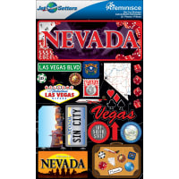 """Reminisce Jet Setters State Dimensional Stickers 4.5""""X7.5""""-Nevada"""