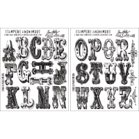"Tim Holtz Cling Stamps 7""X8.5""-Cirque Alphabet"