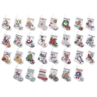 "Bucilla Counted Cross Stitch Kit 3.5"" 30/Pkg-Tiny Stocking Ornaments (14 Count)"