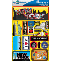 "Reminisce Jet Setters State Dimensional Stickers 4.5""X7.5""-New York"