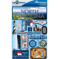 "Reminisce Jet Setters State Dimensional Stickers 4.5""X7.5""-North Carolina"