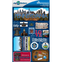 """Reminisce Jet Setters State Dimensional Stickers 4.5""""X7.5""""-Pennsylvania"""