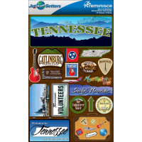 """Reminisce Jet Setters State Dimensional Stickers 4.5""""X7.5""""-Tennessee"""