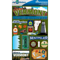 """Reminisce Jet Setters State Dimensional Stickers 4.5""""X7.5""""-Vermont"""
