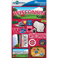 """Reminisce Jet Setters State Dimensional Stickers 4.5""""X7.5""""-Wisconsin"""