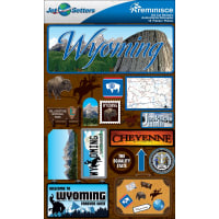 """Reminisce Jet Setters State Dimensional Stickers 4.5""""X7.5""""-Wyoming"""