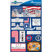 "Reminisce Jet Setters State Dimensional Stickers 4.5""X7.5""-Washington D.C."