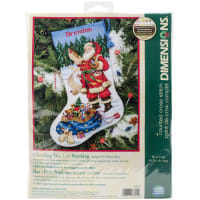 """Dimensions Counted Cross Stitch Kit 16"""" Long-Checking His List Stocking (14 Count)"""