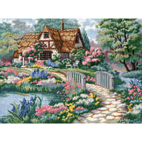 "Dimensions Needlepoint Kit 16""X12""-Cottage Retreat Stitched In Thread"