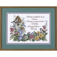 """Dimensions Stamped Cross Stitch Kit 14""""X10""""-Flowery Verse"""
