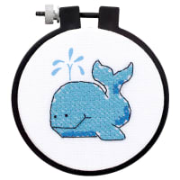 """Dimensions Learn-A-Craft Stamped Cross Stitch Kit 3"""" Round-The Whale"""
