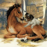 "RIOLIS Stamped Cross Stitch Kit 11.75""X11.75""-Foal & Puppy (10 Count)"