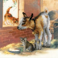 "RIOLIS Stamped Cross Stitch Kit 11.75""X11.75""-Goatling & Kitten (10 Count)"
