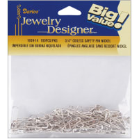 "Darice Coiless Safety Pins-.75"" Nickel 100/Pkg"