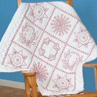 """Jack Dempsey Stamped White Wall Or Lap Quilt 36""""X36""""-Sampler"""
