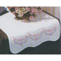 "Tobin Stamped For Embroidery White Dresser Scarf 14""X39""-Petit Fleur"