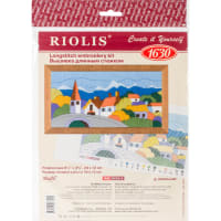 """RIOLIS Stamped Cross Stitch Kit 9.5""""X4.75""""-Town In The Mountains (13 Count)"""