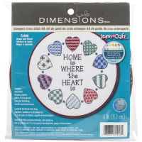 """Dimensions Learn-A-Craft Stamped Cross Stitch Kit 6"""" Round-Home & Heart"""