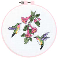"""Dimensions Learn-A-Craft Counted Cross Stitch Kit 6"""" Round-Hummingbird Duo (14 Count)"""