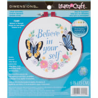 """Dimensions Learn-A-Craft Embroidery Kit 6"""" Round-Believe In Yourself-Stitched In Thread"""