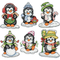 "Design Works Counted Cross Stitch Ornament Kit 3.5""X3.5""-Penguins on Ice 6/Pkg (14 Count)"