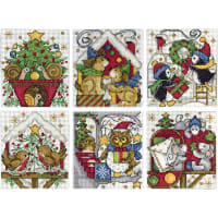 """Design Works Counted Cross Stitch Kit 3.5""""X4"""" Set of 6-Home For Christmas Ornaments (14 Count)"""