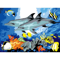 """Junior Large Paint By Number Kit 15.25""""X11.25""""-Dolphins"""