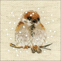 """RIOLIS Counted Cross Stitch Kit 4""""X4""""-Sparrow (14 Count)"""