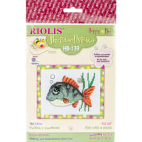 "RIOLIS Counted Cross Stitch Kit 6.25""X5""-Smiling Fish (10 Count)"