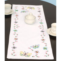 """Jack Dempsey Stamped Table Runner/Scarf 15""""X42""""-Fluttering Butterflies"""