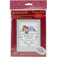 """RIOLIS Counted Cross Stitch Kit 7""""X9.5""""-Boys Birth Announcement (14 Count)"""