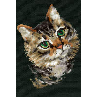 """RIOLIS Counted Cross Stitch Kit 8.25""""X11.75""""-Grey Cat (10 Count)"""