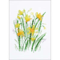 """RIOLIS Counted Cross Stitch Kit 8.25""""X11.75""""-Spring Narcissus (14 Count)"""