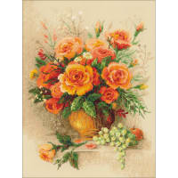 "RIOLIS Counted Cross Stitch Kit 11.75""X15.75""-Tea Roses (14 Count)"
