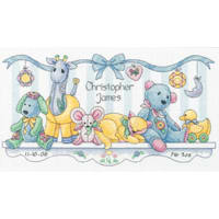 """Dimensions/Baby Hugs Counted Cross Stitch Kit 14""""X8""""-Baby's Friends Birth Record (14 Count)"""